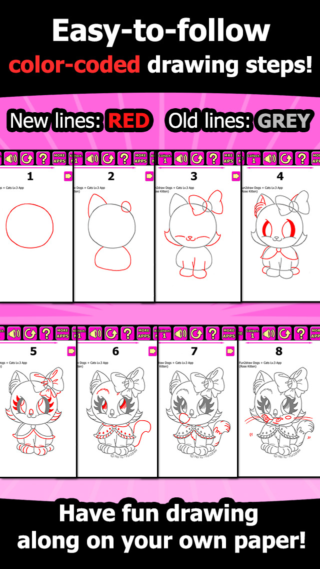 Draw and Color Cats Dogs - How to Draw cute dogs cats