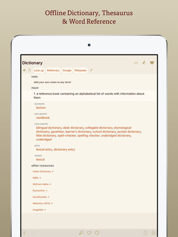 Terminology Dictionary: Thesaurus and Dictionary Screenshot