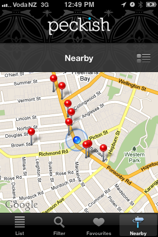Auckland Peckish Guide Screenshot