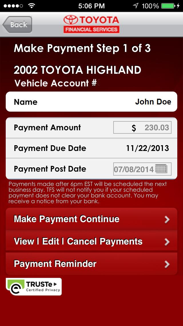 myTFS - Toyota Financial Services Screenshot