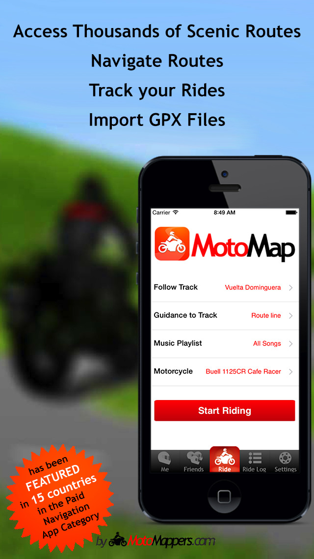 MotoMap - Motorcycle Navigation, Ride Tracking and Scenic Route Touring screenshot-0