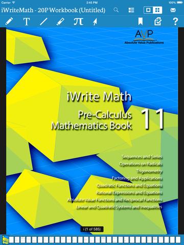 iWrite Math 20P Workbook for Pre-Calculus Mathematics 11