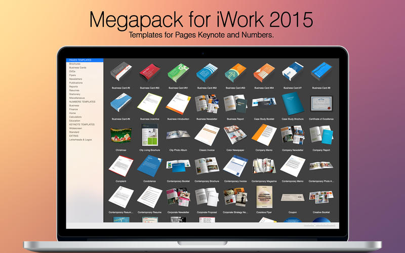 Megapack for iWork 2015: Keynote Numbers Pages Templates DMG