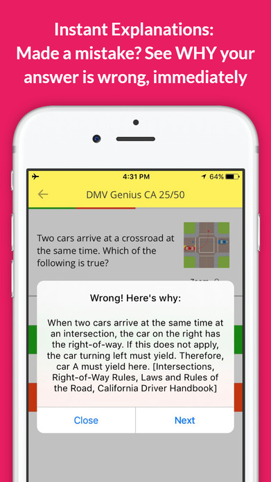 DMV Genie Practice Test: Permit & Driver's License Screenshot