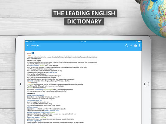 Oxford Dictionary of English, 2017 Screenshot