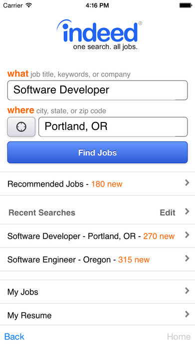Indeed Job Search Screenshot