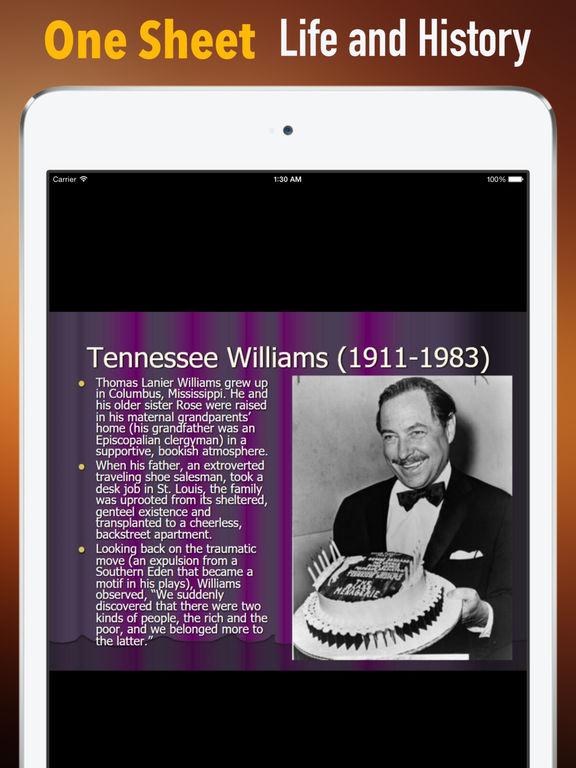 Portrayal of tennessee williams life experiences in his works essay