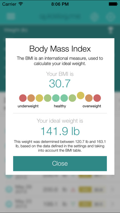 Weight Tracker QuickLog.me Screenshot
