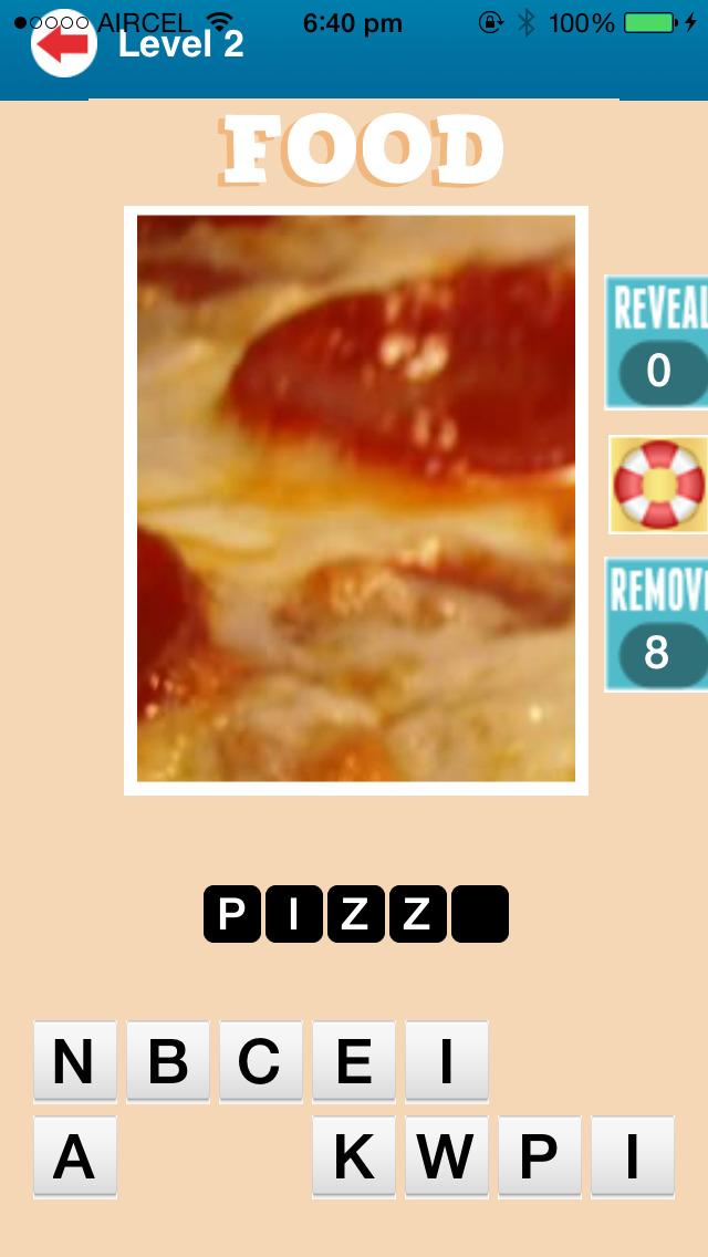 Close Up Food Quiz Game