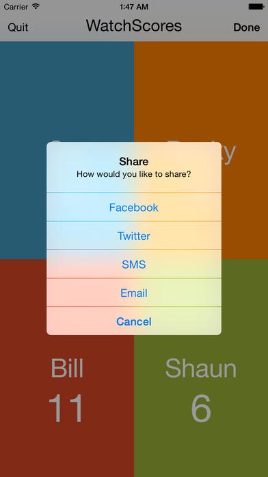WatchScores Screenshot on iOS