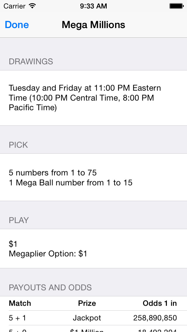 Lotto Results - Mega Millions, Powerball and State Lottery Games in the US Screenshot