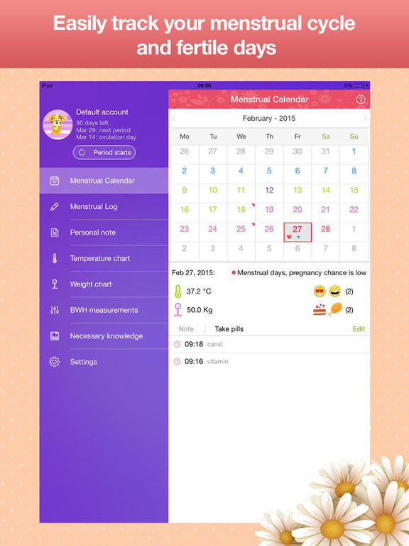 Menstrual Calendar - Cycle Period Tracker By BH Media Corp