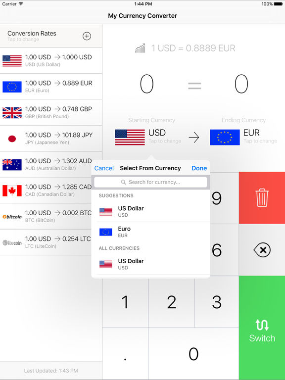 My Currency Converter Exchange Rates Screenshot