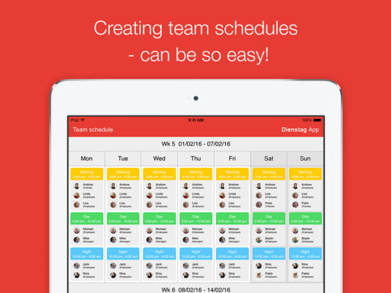 Dienstag - schedule your team I Shift Planer I Employee