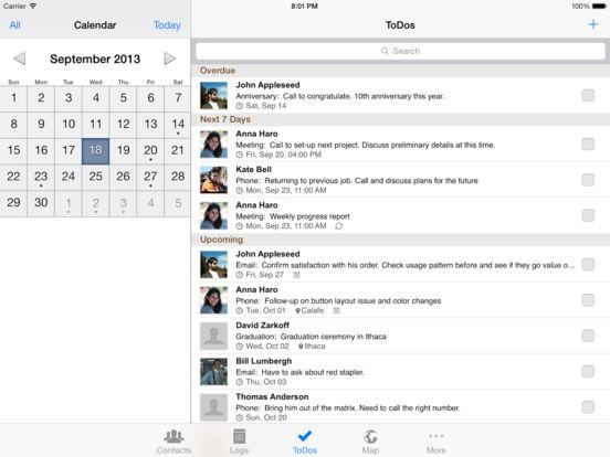 Contacts Journal CRM (iPad version) Screenshots
